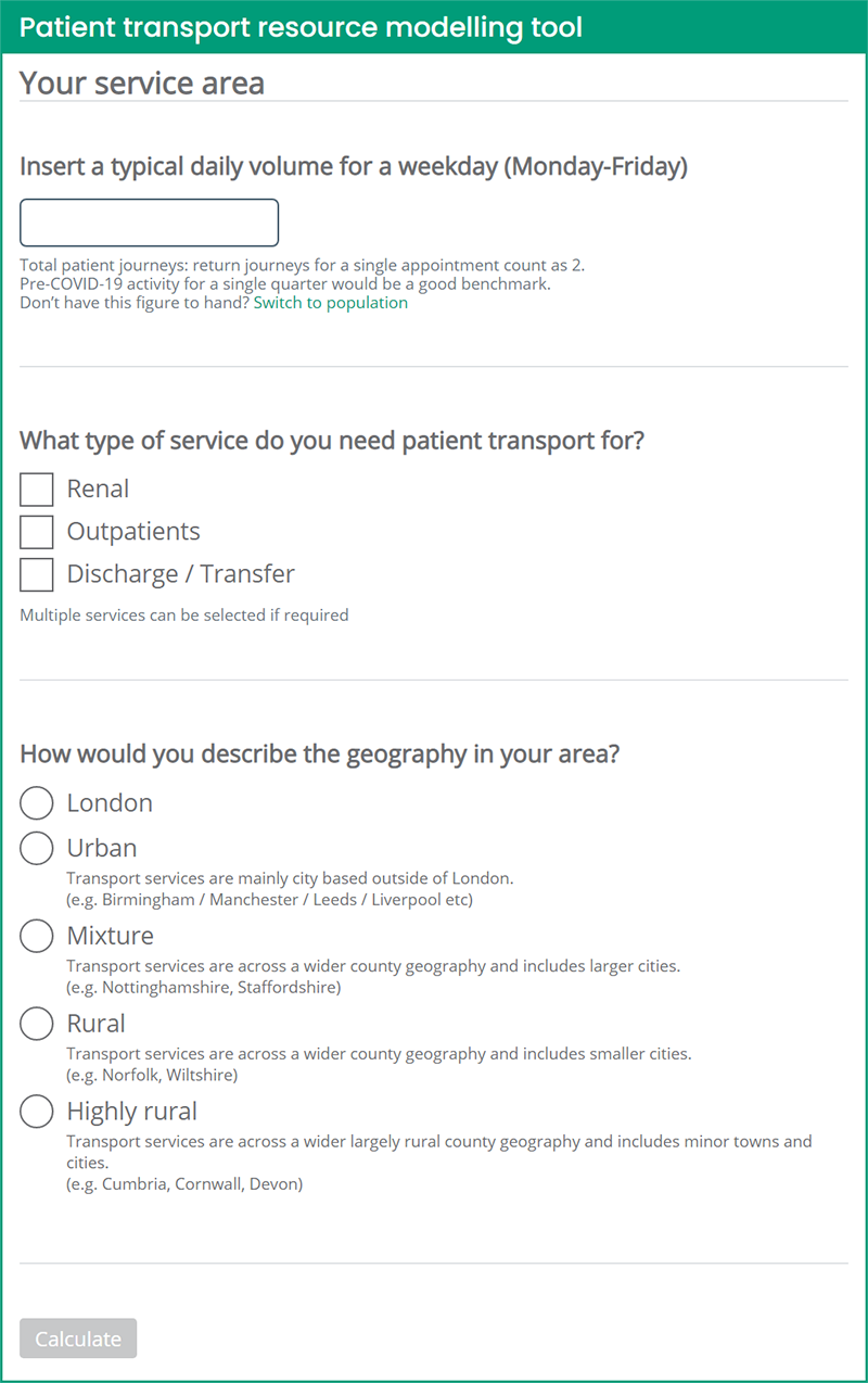 ERS Medical Patient Transport Resource Modelling Tool